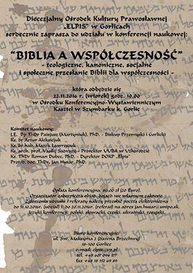 Zaproszenie do udziału w konferencji Biblia a współcześność